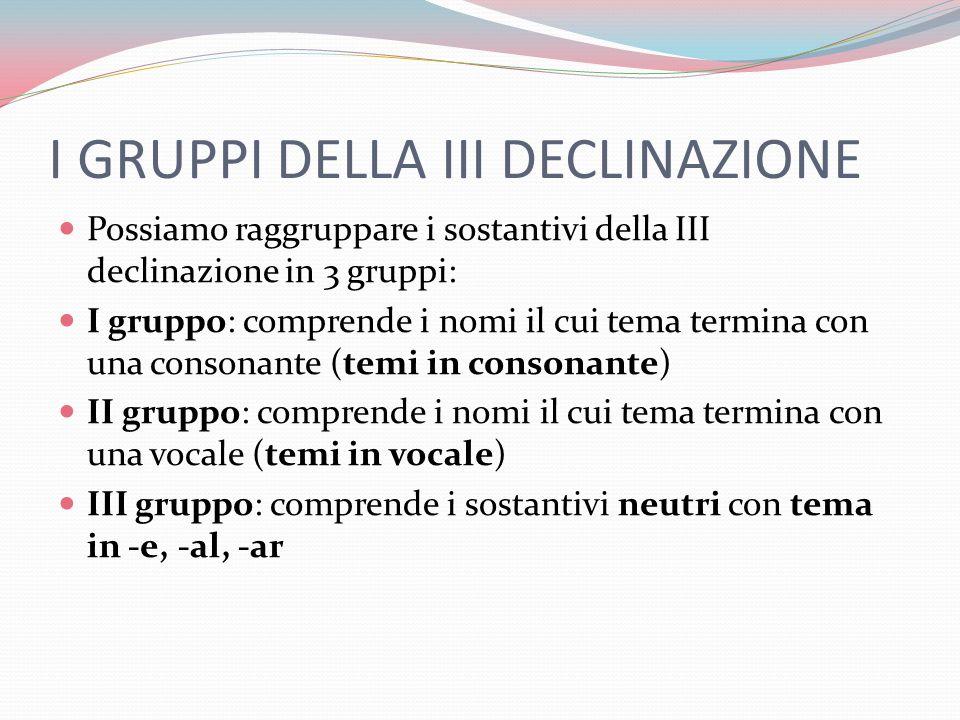 I GRUPPI DELLA III DECLINAZIONE Possiamo raggruppare i sostantivi della III declinazione in 3 gruppi: I gruppo: comprende i nomi il cui tema termina c