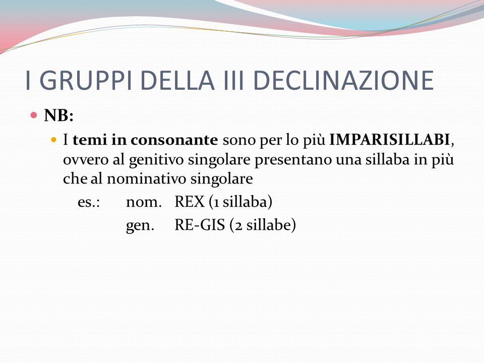 I GRUPPI DELLA III DECLINAZIONE NB: I temi in consonante sono per lo più IMPARISILLABI, ovvero al genitivo singolare presentano una sillaba in più che