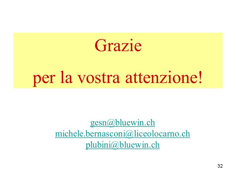 32 Grazie per la vostra attenzione! gesn@bluewin.ch michele.bernasconi@liceolocarno.ch plubini@bluewin.ch