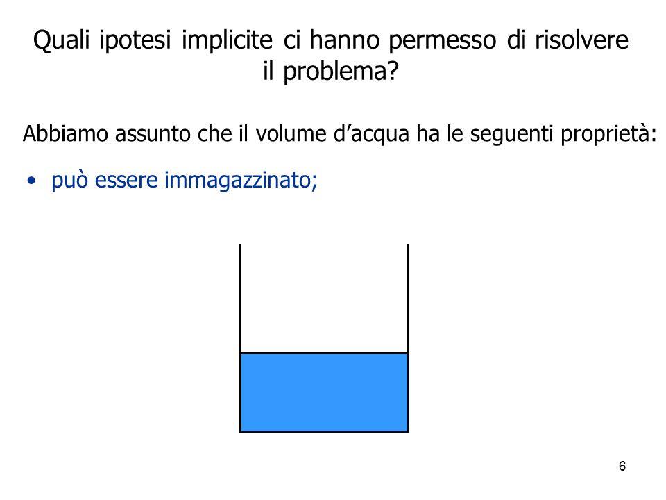 6 Quali ipotesi implicite ci hanno permesso di risolvere il problema? può essere immagazzinato; Abbiamo assunto che il volume dacqua ha le seguenti pr