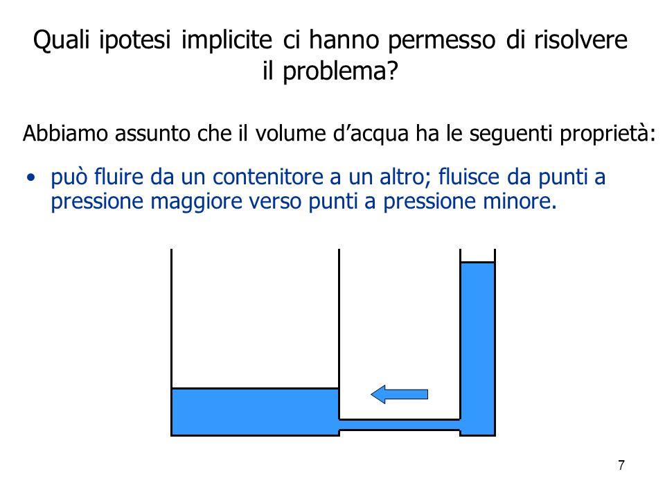 7 Quali ipotesi implicite ci hanno permesso di risolvere il problema? può fluire da un contenitore a un altro; fluisce da punti a pressione maggiore v