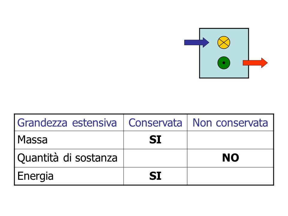 Grandezza estensivaConservataNon conservata MassaSI Quantità di sostanzaNO EnergiaSI