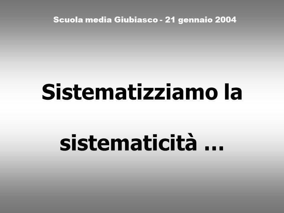 Sistematizziamo la sistematicità … Scuola media Giubiasco - 21 gennaio 2004