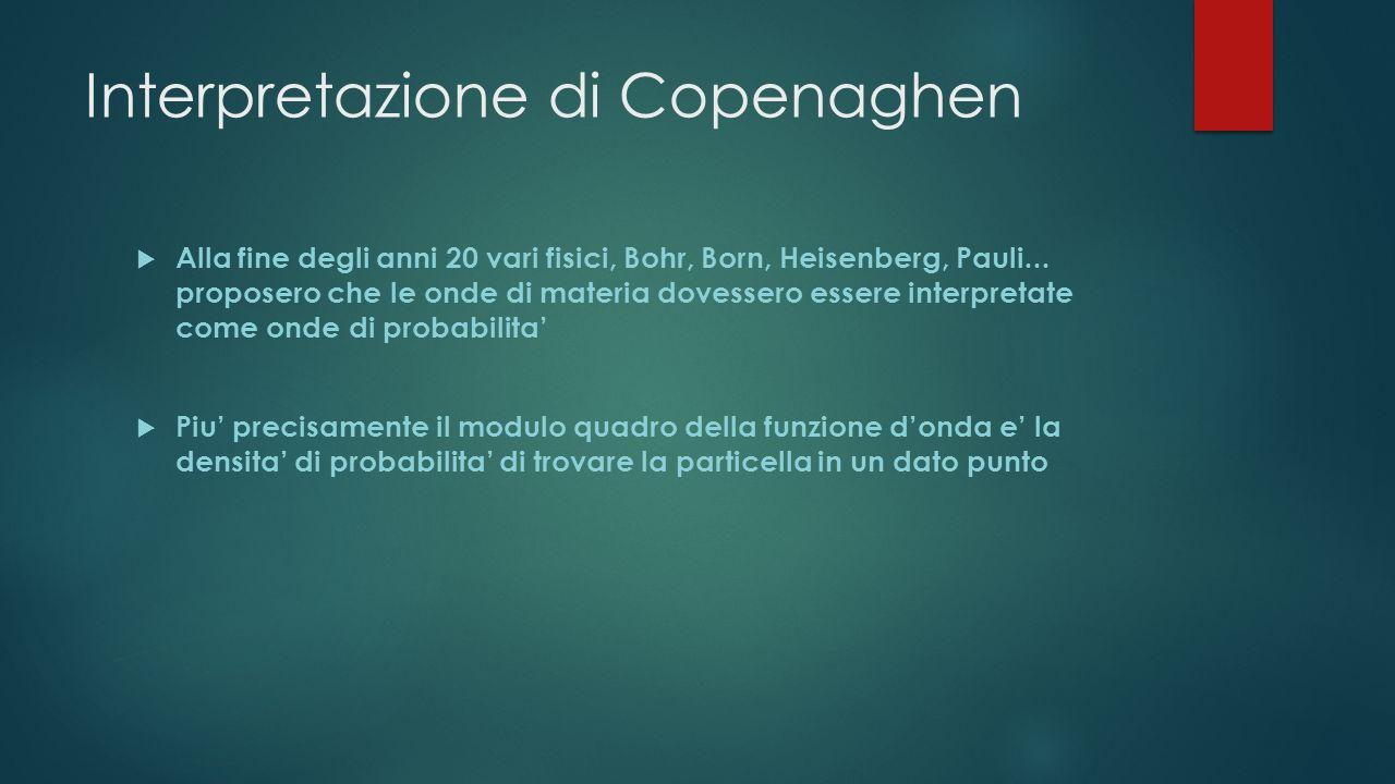 Interpretazione di Copenaghen Alla fine degli anni 20 vari fisici, Bohr, Born, Heisenberg, Pauli... proposero che le onde di materia dovessero essere