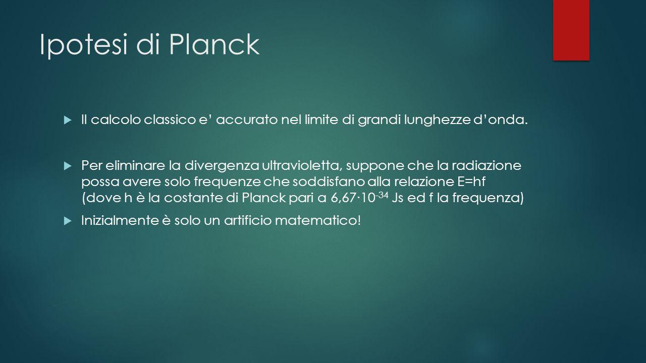 Ipotesi di Planck Il calcolo classico e accurato nel limite di grandi lunghezze donda. Per eliminare la divergenza ultravioletta, suppone che la radia