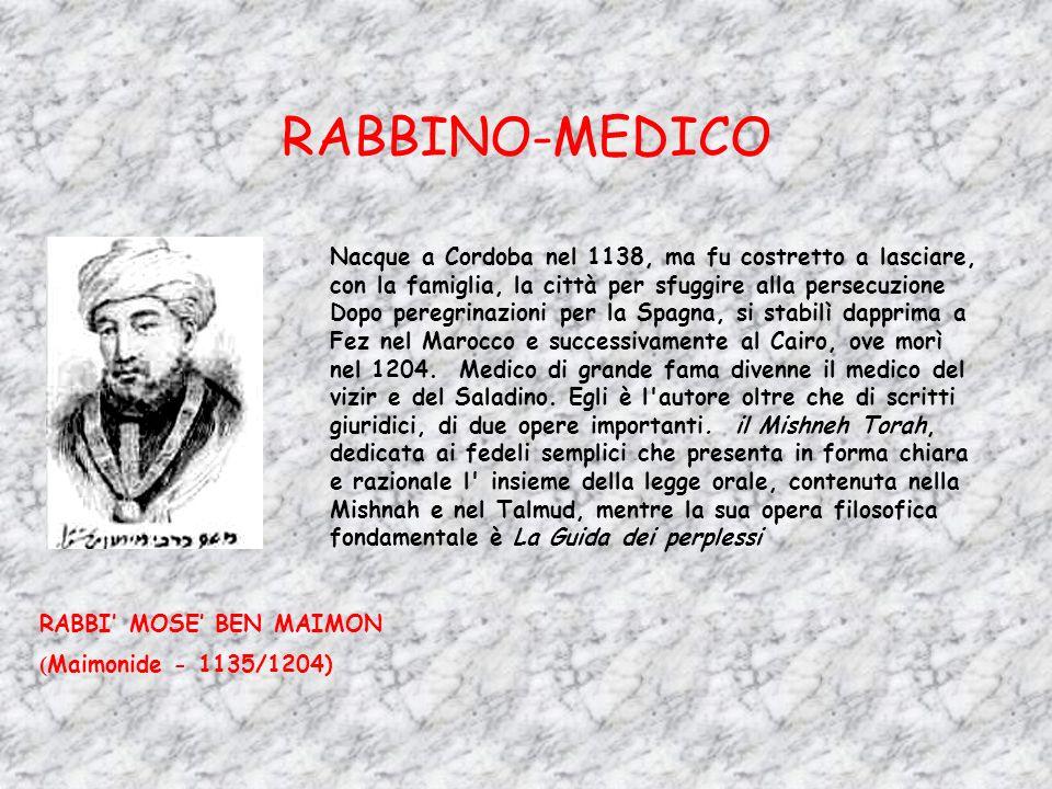 RABBINO-MEDICO RABBI MOSE BEN MAIMON ( Maimonide - 1135/1204) Nacque a Cordoba nel 1138, ma fu costretto a lasciare, con la famiglia, la città per sfu