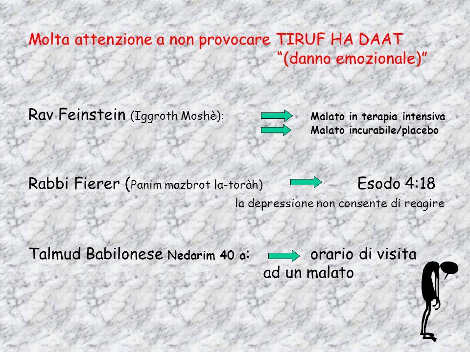 Molta attenzione a non provocare TIRUF HA DAAT (danno emozionale) Rav Feinstein (Iggroth Moshè): Malato in terapia intensiva Malato incurabile/placebo