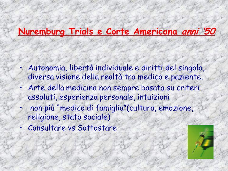 Nuremburg Trials e Corte Americana anni 50 Autonomia, libertà individuale e diritti del singolo, diversa visione della realtà tra medico e paziente. A
