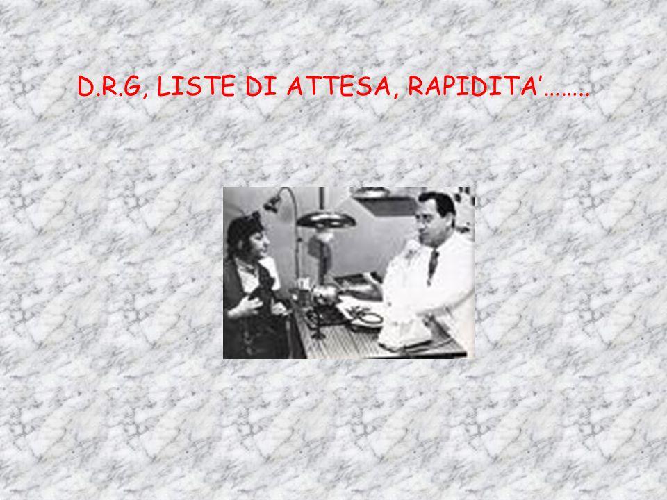 D.R.G, LISTE DI ATTESA, RAPIDITA……..