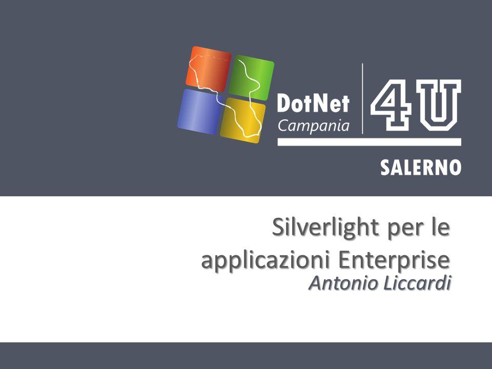 CHI SONO Antonio Turibbio Liccardi Blog: Blog: – http://www.dotnetcampania.org/blogs/turibbio Email: antonio.liccardi@dotnetcampania.org Email: antonio.liccardi@dotnetcampania.organtonio.liccardi@dotnetcampania.org @turibbio @turibbio WebMobiDeveloper presso BcSoft s.n.c WebMobiDeveloper presso BcSoft s.n.c Co-Founder DotNetCampania Co-Founder DotNetCampania