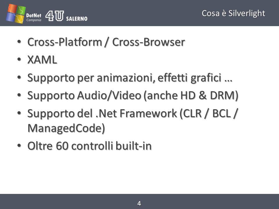 Cosa è Silverlight 3.5 Silverlight 1.0 Marzo 2007 Funzionalità di base Solo XAML e Javascript (No managedCode & BCL) Marzo 2007 Funzionalità di base Solo XAML e Javascript (No managedCode & BCL) Silverlight 3.0 Marzo 2009 Supporto grafica 3D Easing function for animation Pixel Shaders Supporto ai temi Bitmap API Supporto H.264, AAC, MP4 IIS Media Services Out of Browser Experience Assembly Caching Validazione migliorata Marzo 2009 Supporto grafica 3D Easing function for animation Pixel Shaders Supporto ai temi Bitmap API Supporto H.264, AAC, MP4 IIS Media Services Out of Browser Experience Assembly Caching Validazione migliorata Silverlight 2.0 Marzo 2008 Conosciuta come Alpha 1.1 Preview Cross-Browser / Cross- Platform Aggiunta del CLR, BCL e migliorie allo XAML Isolated Storage Interfacciamento con WebServices, WCF, chiamate HTTP… Supporto di Linq, Ado.Net Data Services Media enchancements, Networking Support (Json, socket...) Marzo 2008 Conosciuta come Alpha 1.1 Preview Cross-Browser / Cross- Platform Aggiunta del CLR, BCL e migliorie allo XAML Isolated Storage Interfacciamento con WebServices, WCF, chiamate HTTP… Supporto di Linq, Ado.Net Data Services Media enchancements, Networking Support (Json, socket...) Silverlight 4.0 Supporto alla stampa, miglioramenti per lout of browser, miglioramenti per la localizzazione, template per business application, webcam, SEO… Silverlight 4.0 Supporto alla stampa, miglioramenti per lout of browser, miglioramenti per la localizzazione, template per business application, webcam, SEO… 5