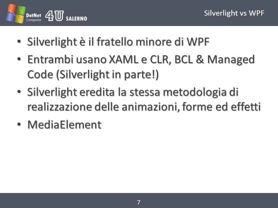 .Net in Silverlight.Net ha una consolidata community di sviluppatori.Net ha una consolidata community di sviluppatori La conoscenza del.Net può essere riusata La conoscenza del.Net può essere riusata.Net è una tecnologia con features mature.Net è una tecnologia con features mature Perché non usare direttamente il.Net per Silverlight.