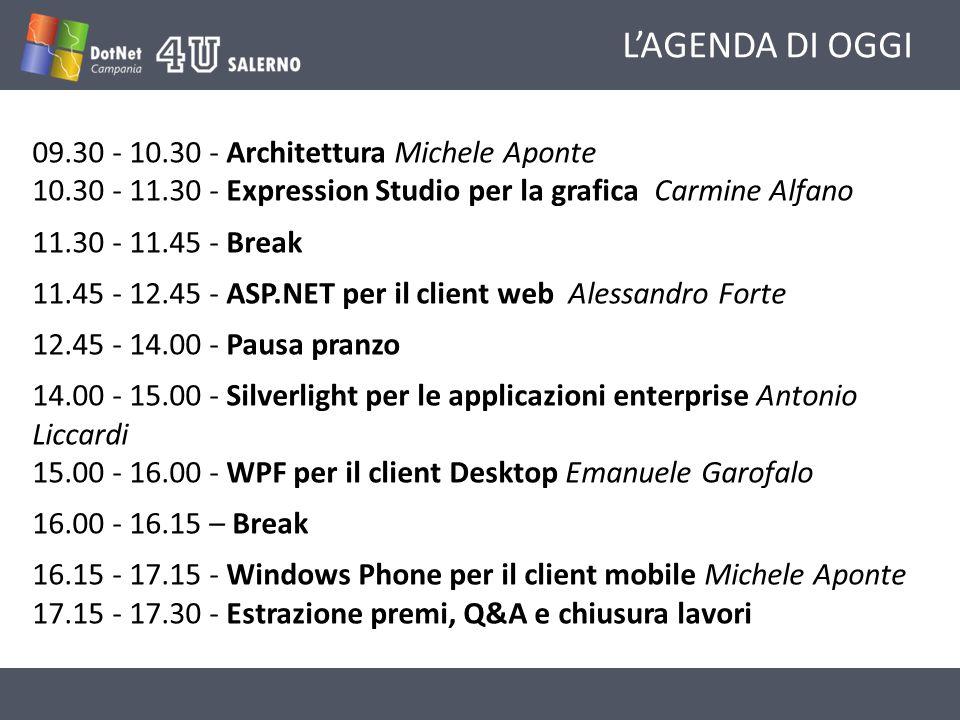 LAGENDA DI OGGI 09.30 - 10.30 - Architettura Michele Aponte 10.30 - 11.30 - Expression Studio per la grafica Carmine Alfano 11.30 - 11.45 - Break 11.45 - 12.45 - ASP.NET per il client web Alessandro Forte 12.45 - 14.00 - Pausa pranzo 14.00 - 15.00 - Silverlight per le applicazioni enterprise Antonio Liccardi 15.00 - 16.00 - WPF per il client Desktop Emanuele Garofalo 16.00 - 16.15 – Break 16.15 - 17.15 - Windows Phone per il client mobile Michele Aponte 17.15 - 17.30 - Estrazione premi, Q&A e chiusura lavori