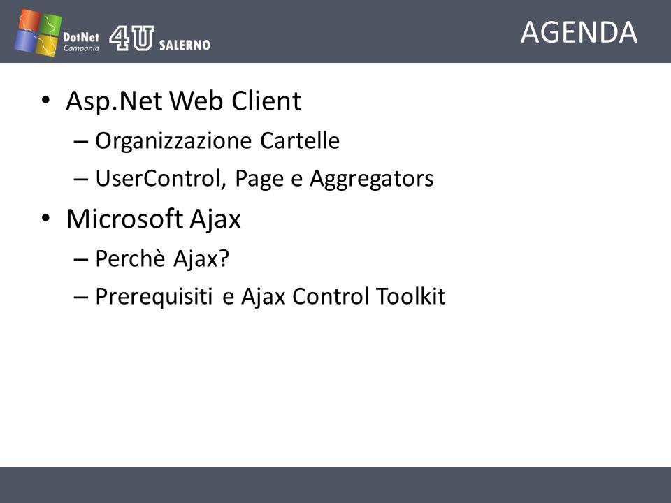 AGENDA Asp.Net Web Client – Organizzazione Cartelle – UserControl, Page e Aggregators Microsoft Ajax – Perchè Ajax.