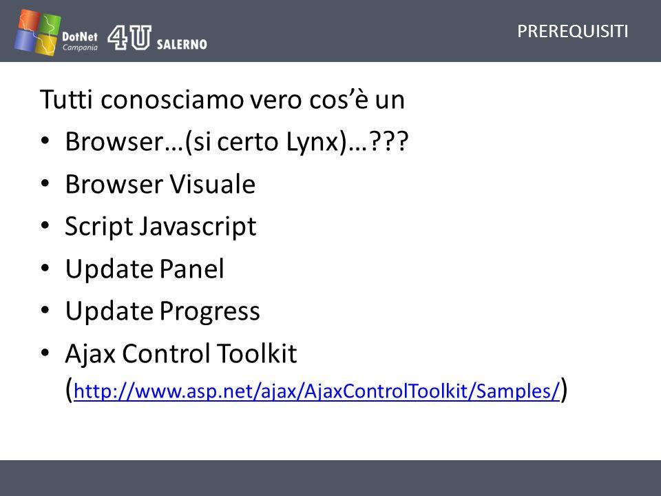 PREREQUISITI Tutti conosciamo vero cosè un Browser…(si certo Lynx)… .