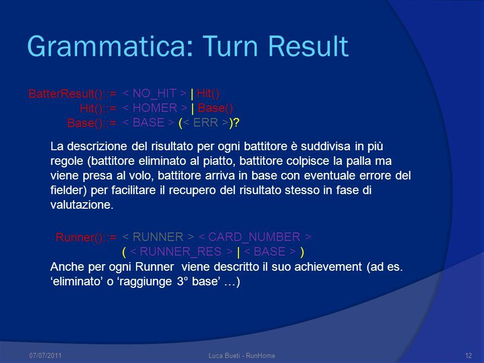 Grammatica: Turn Result BatterResult()::= Hit()::= Base()::= | Hit() | Base() ( )? Runner()::= ( | ) La descrizione del risultato per ogni battitore è