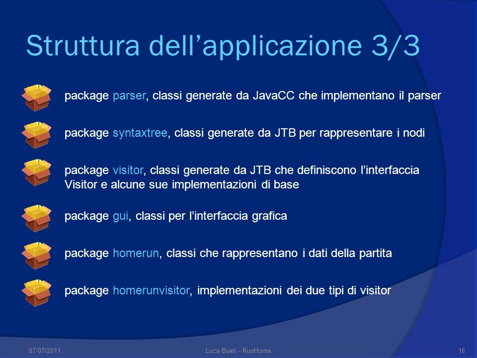 Struttura dellapplicazione 3/3 package gui, classi per linterfaccia grafica package homerun, classi che rappresentano i dati della partita package hom