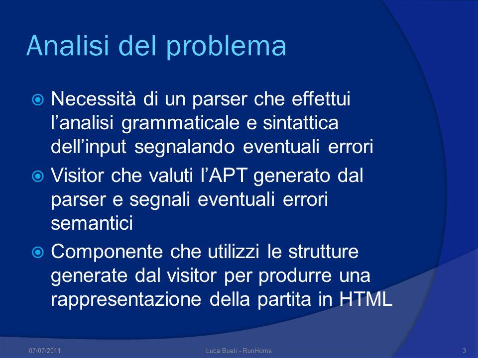 Analisi del problema Necessità di un parser che effettui lanalisi grammaticale e sintattica dellinput segnalando eventuali errori Visitor che valuti l