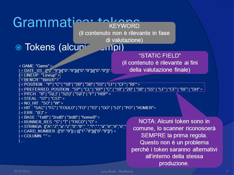 Grammatica: tokens Tokens (alcuni esempi) | | … KEYWORD (il contenuto non è rilevante in fase di valutazione) NOTA: Alcuni token sono in comune, lo scanner riconoscerà SEMPRE la prima regola.