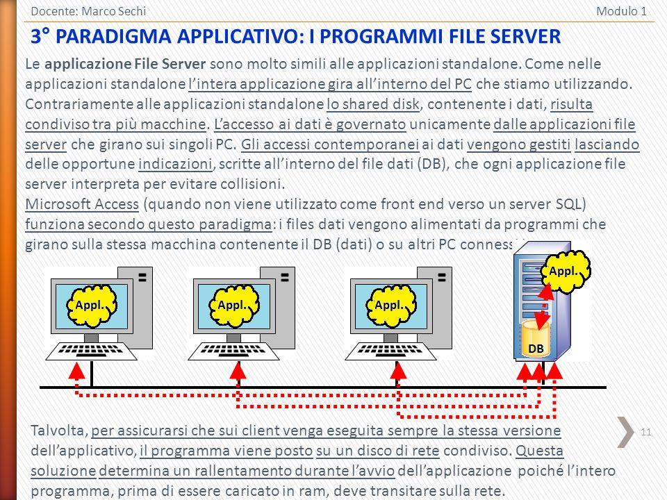 11 Docente: Marco Sechi Modulo 1 3° PARADIGMA APPLICATIVO: I PROGRAMMI FILE SERVER Le applicazione File Server sono molto simili alle applicazioni sta