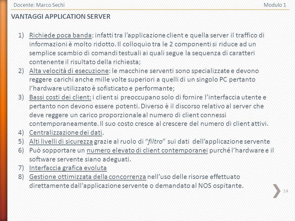 14 VANTAGGI APPLICATION SERVER Docente: Marco Sechi Modulo 1 1)Richiede poca banda: infatti tra lapplicazione client e quella server il traffico di informazioni è molto ridotto.