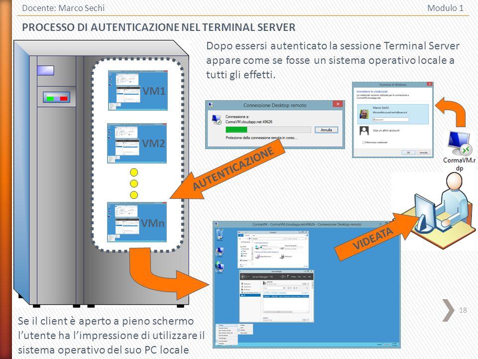 18 Docente: Marco Sechi Modulo 1 PROCESSO DI AUTENTICAZIONE NEL TERMINAL SERVER Dopo essersi autenticato la sessione Terminal Server appare come se fosse un sistema operativo locale a tutti gli effetti.