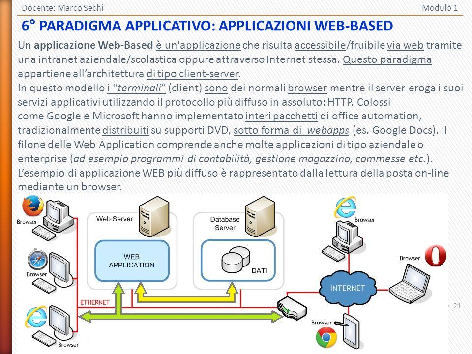 21 Docente: Marco Sechi Modulo 1 Un applicazione Web-Based è un applicazione che risulta accessibile/fruibile via web tramite una intranet aziendale/scolastica oppure attraverso Internet stessa.