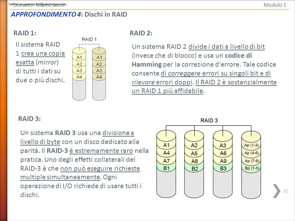 31 Docente: Marco Sechi Modulo 1 RAID 1: Il sistema RAID 1 crea una copia esatta (mirror) di tutti i dati su due o più dischi. RAID 2: Un sistema RAID