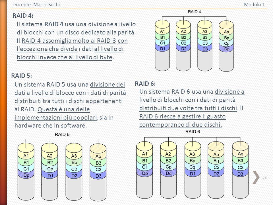 32 Docente: Marco Sechi Modulo 1 RAID 5: Un sistema RAID 5 usa una divisione dei dati a livello di blocco con i dati di parità distribuiti tra tutti i dischi appartenenti al RAID.