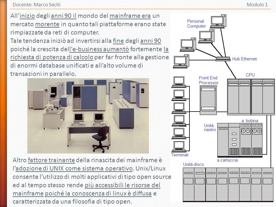 4 Docente: Marco Sechi Modulo 1 Allinizio degli anni 90 il mondo del mainframe era un mercato morente in quanto tali piattaforme erano state rimpiazzate da reti di computer.