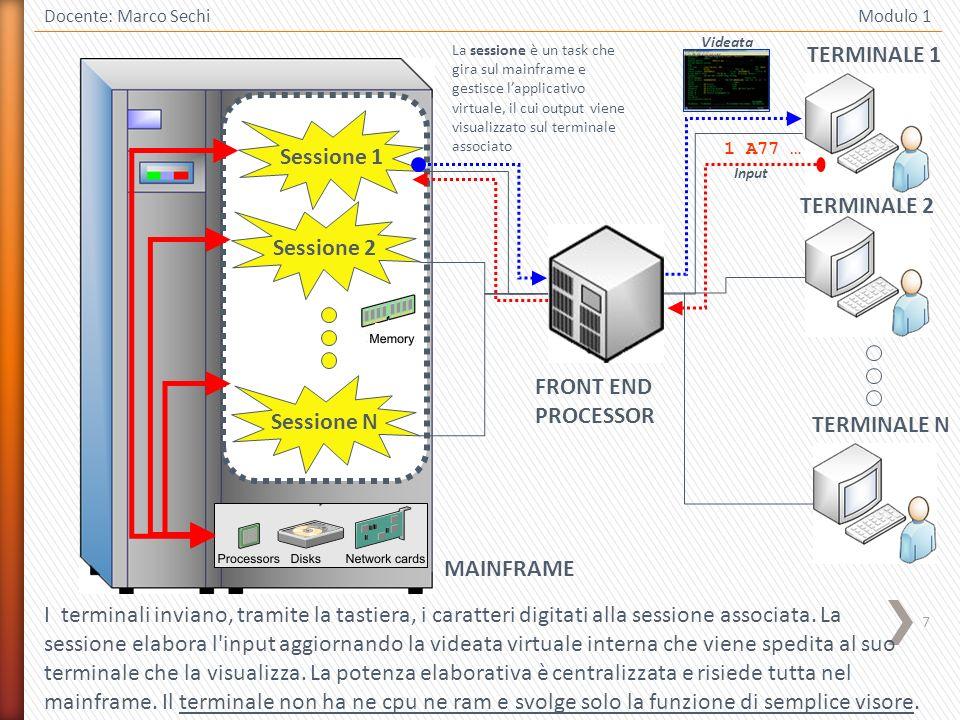 7 Docente: Marco Sechi Modulo 1 Sessione 1 Sessione 2 Sessione N MAINFRAME FRONT END PROCESSOR TERMINALE 1 I terminali inviano, tramite la tastiera, i