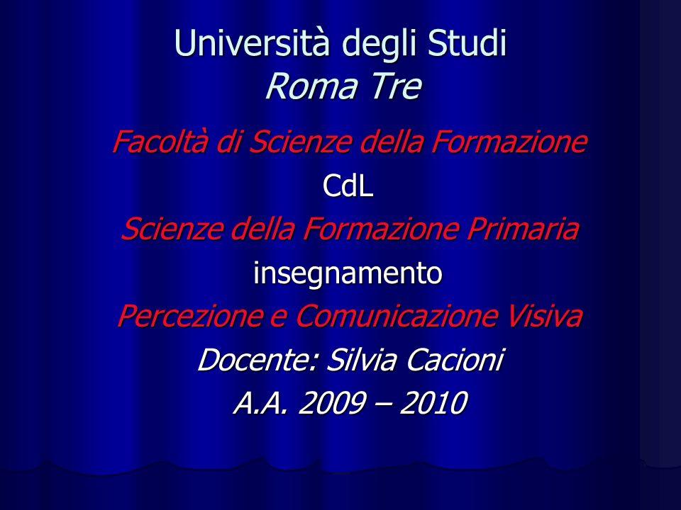 Università degli Studi Roma Tre Facoltà di Scienze della Formazione CdL Scienze della Formazione Primaria insegnamento Percezione e Comunicazione Visi