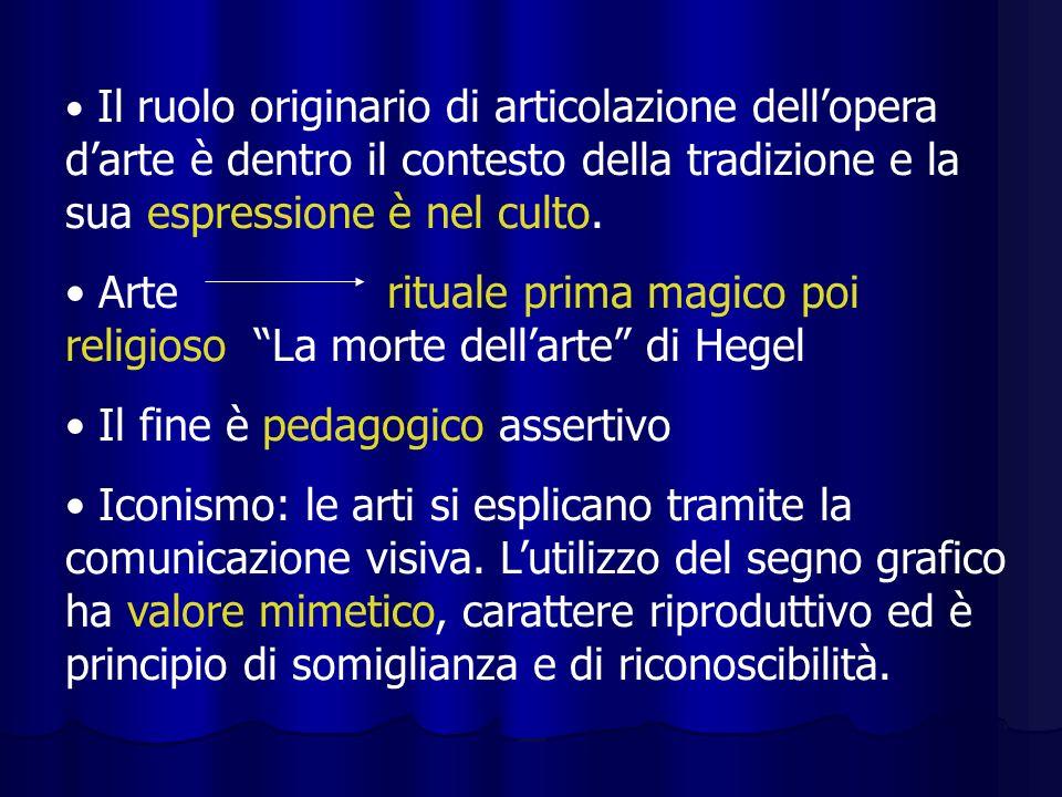 Il ruolo originario di articolazione dellopera darte è dentro il contesto della tradizione e la sua espressione è nel culto. Arte rituale prima magico
