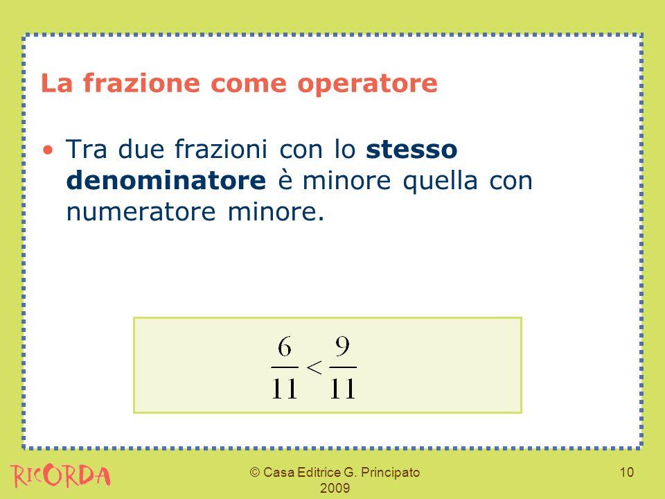© Casa Editrice G. Principato 2009 10 La frazione come operatore Tra due frazioni con lo stesso denominatore è minore quella con numeratore minore.