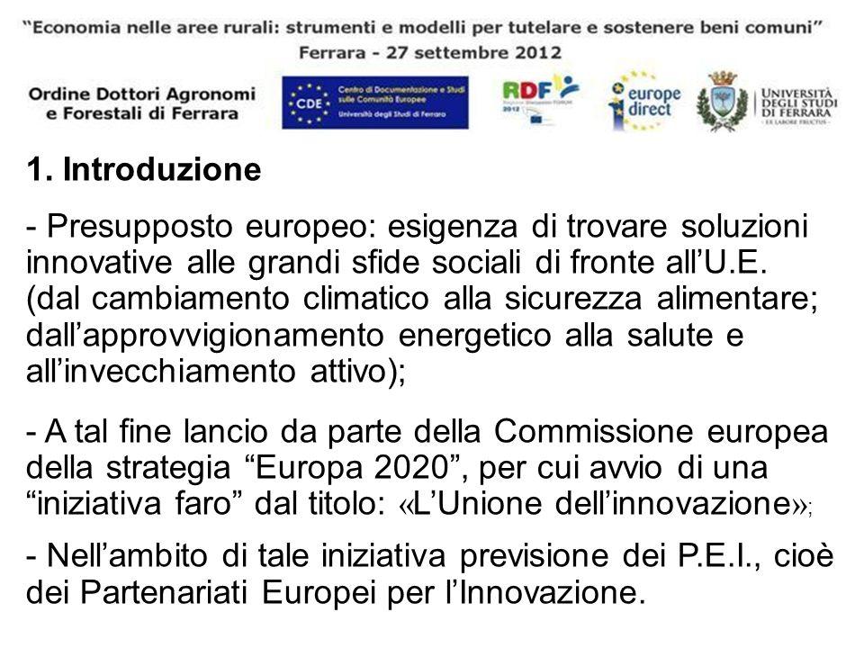 1. Introduzione - Presupposto europeo: esigenza di trovare soluzioni innovative alle grandi sfide sociali di fronte allU.E. (dal cambiamento climatico
