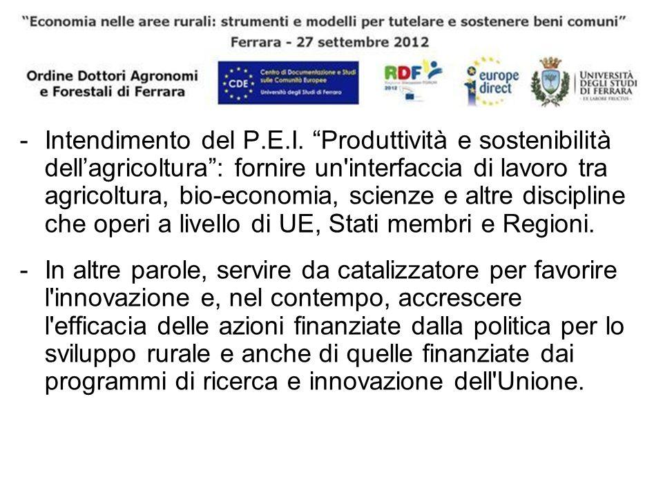 -Intendimento del P.E.I. Produttività e sostenibilità dellagricoltura: fornire un'interfaccia di lavoro tra agricoltura, bio-economia, scienze e altre