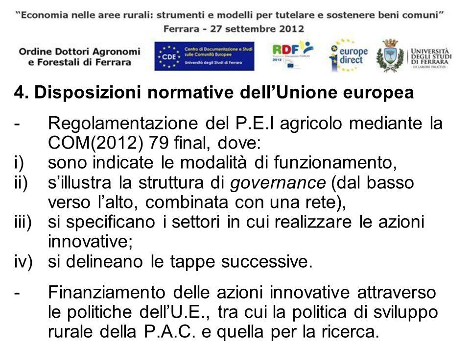 4. Disposizioni normative dellUnione europea -Regolamentazione del P.E.I agricolo mediante la COM(2012) 79 final, dove: i)sono indicate le modalità di