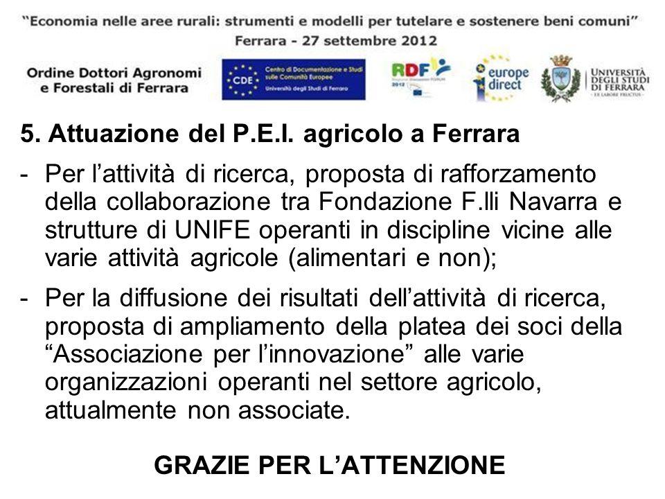 5. Attuazione del P.E.I. agricolo a Ferrara -Per lattività di ricerca, proposta di rafforzamento della collaborazione tra Fondazione F.lli Navarra e s