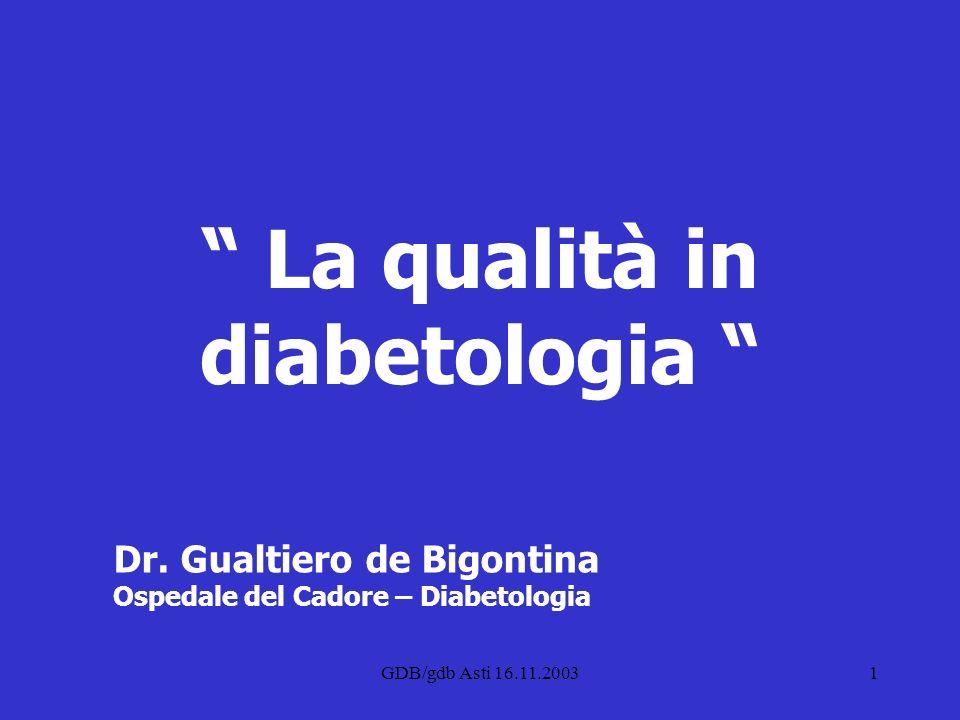 GDB/gdb Asti 16.11.20031 Dr. Gualtiero de Bigontina Ospedale del Cadore – Diabetologia La qualità in diabetologia