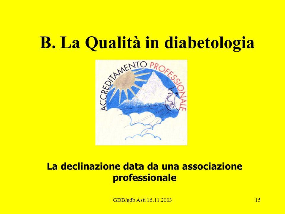 GDB/gdb Asti 16.11.200315 B. La Qualità in diabetologia La declinazione data da una associazione professionale