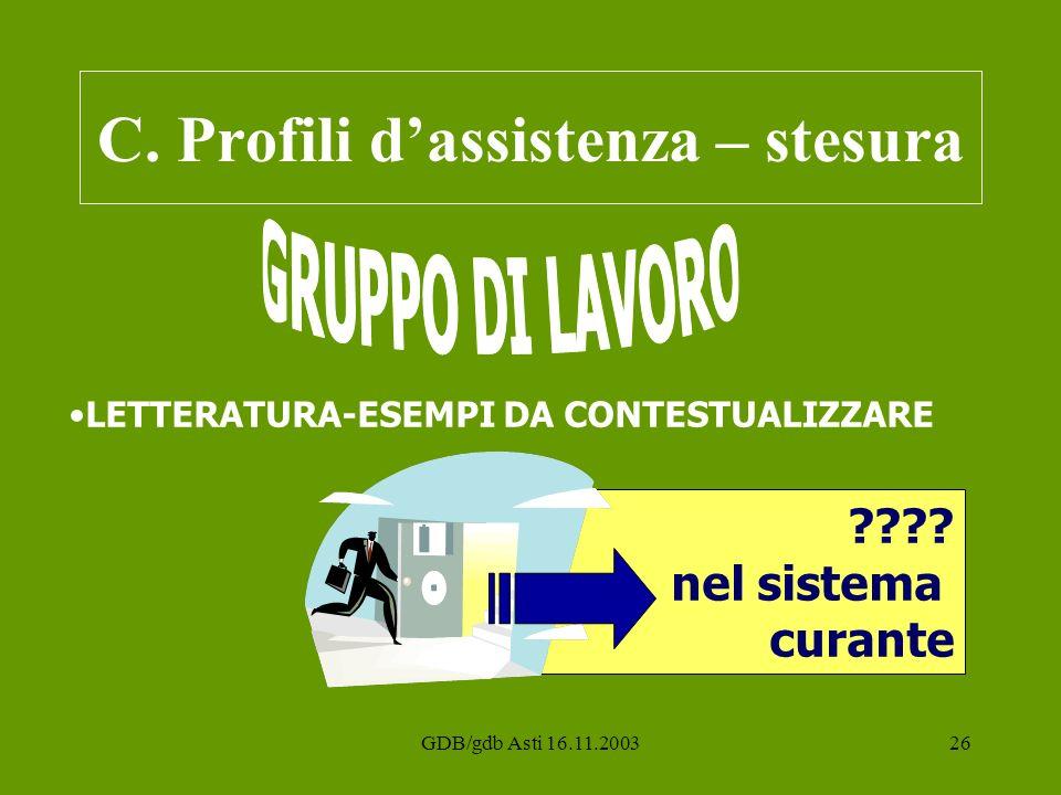GDB/gdb Asti 16.11.200326 C. Profili dassistenza – stesura ???? nel sistema curante LETTERATURA-ESEMPI DA CONTESTUALIZZARE