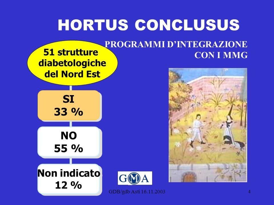 GDB/gdb Asti 16.11.20034 HORTUS CONCLUSUS NO 55 % Non indicato 12 % SI 33 % 51 strutture diabetologiche del Nord Est PROGRAMMI DINTEGRAZIONE CON I MMG