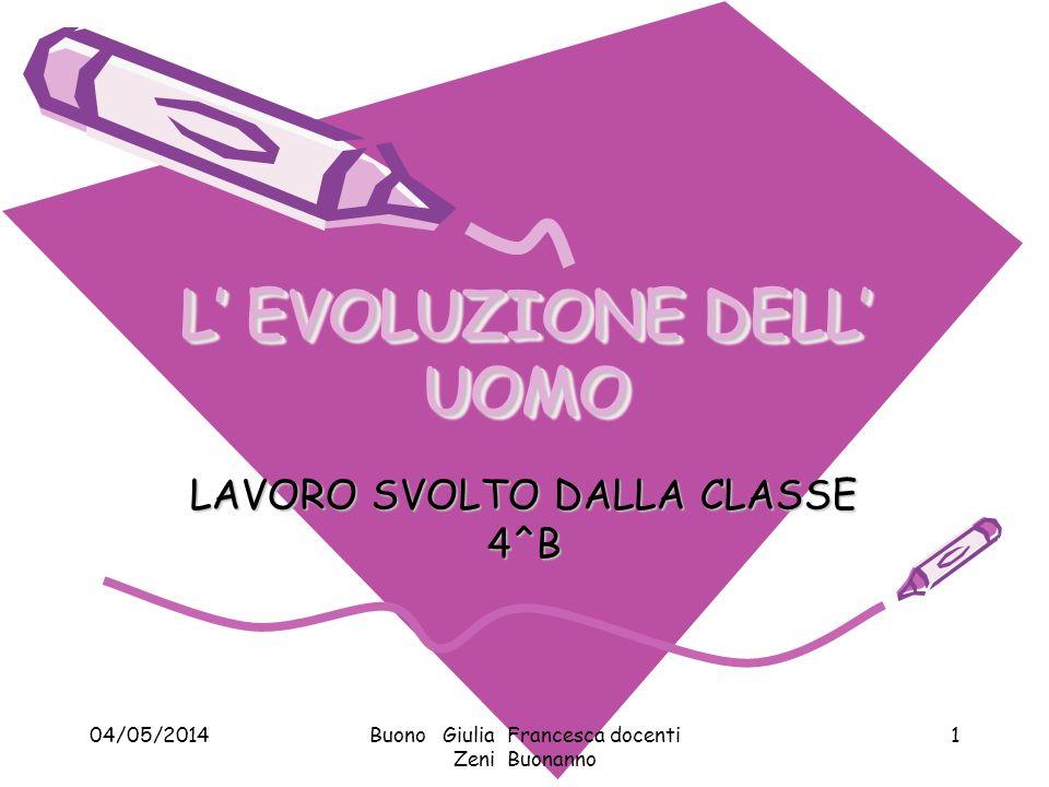 04/05/2014Buono Giulia Francesca docenti Zeni Buonanno 1 L EVOLUZIONE DELL UOMO LAVORO SVOLTO DALLA CLASSE 4^B