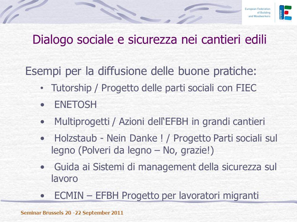 Esempi per la diffusione delle buone pratiche: Tutorship / Progetto delle parti sociali con FIEC ENETOSH Multiprogetti / Azioni dellEFBH in grandi cantieri Holzstaub - Nein Danke .