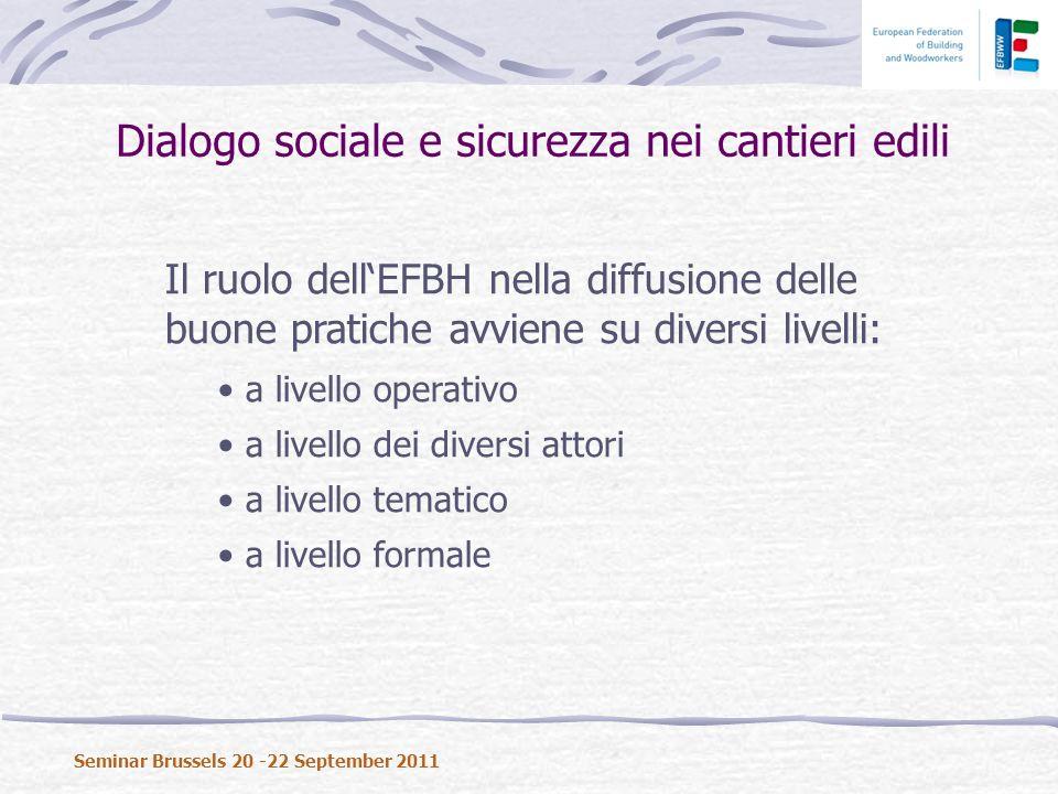 Il ruolo dellEFBH nella diffusione delle buone pratiche avviene su diversi livelli: a livello operativo a livello dei diversi attori a livello tematico a livello formale Dialogo sociale e sicurezza nei cantieri edili Seminar Brussels 20 -22 September 2011