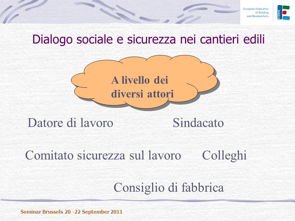 Dialogo sociale e sicurezza nei cantieri edili Seminar Brussels 20 -22 September 2011 A livello dei diversi attori Datore di lavoroSindacato Comitato sicurezza sul lavoroColleghi Consiglio di fabbrica