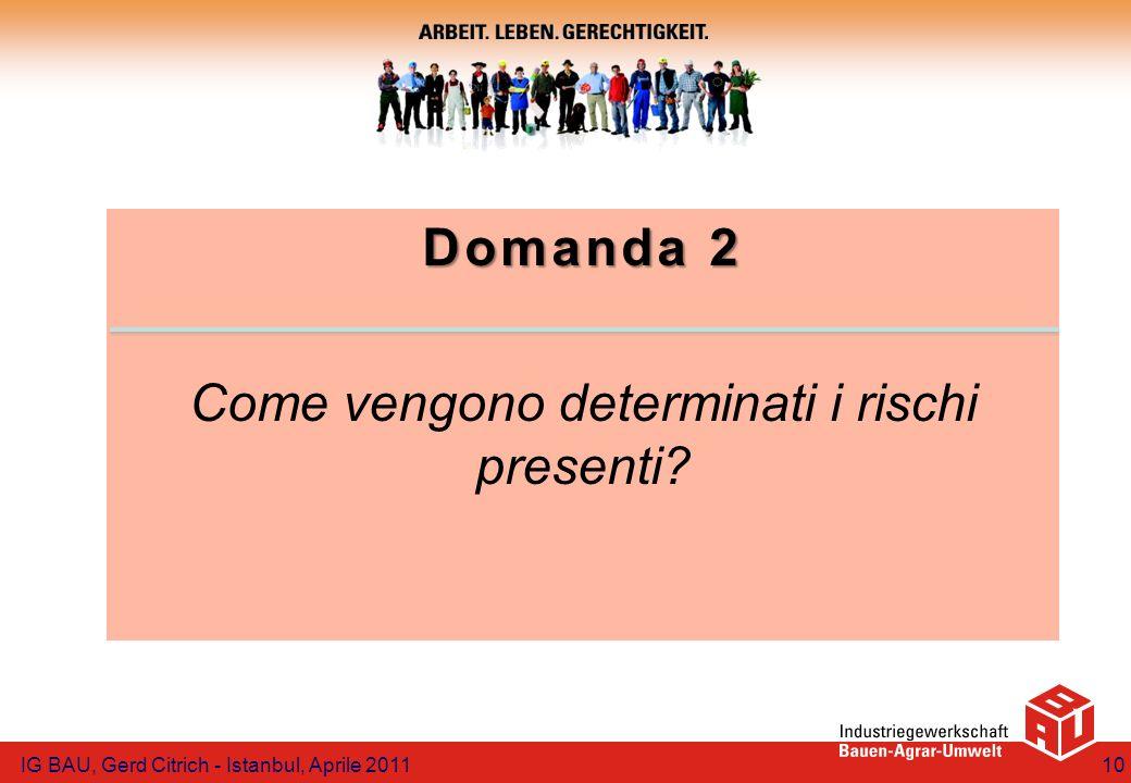 Domanda 2 Come vengono determinati i rischi presenti? IG BAU, Gerd Citrich - Istanbul, Aprile 201110