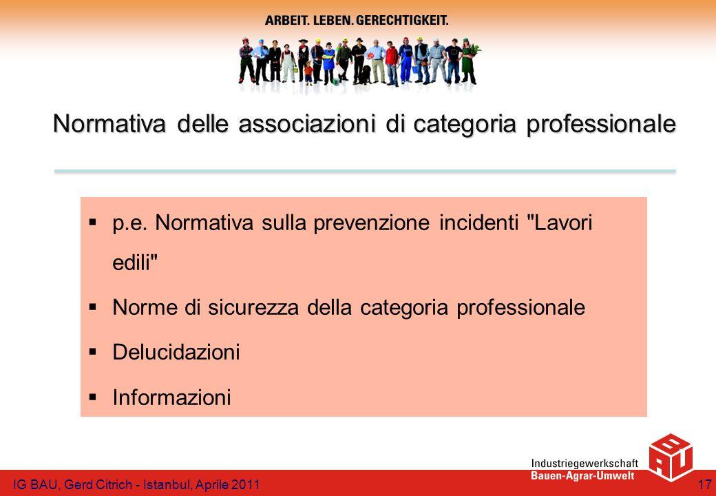 Normativa delle associazioni di categoria professionale p.e. Normativa sulla prevenzione incidenti