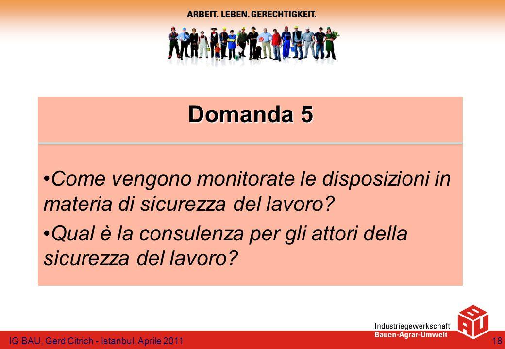 Domanda 5 Come vengono monitorate le disposizioni in materia di sicurezza del lavoro? Qual è la consulenza per gli attori della sicurezza del lavoro?