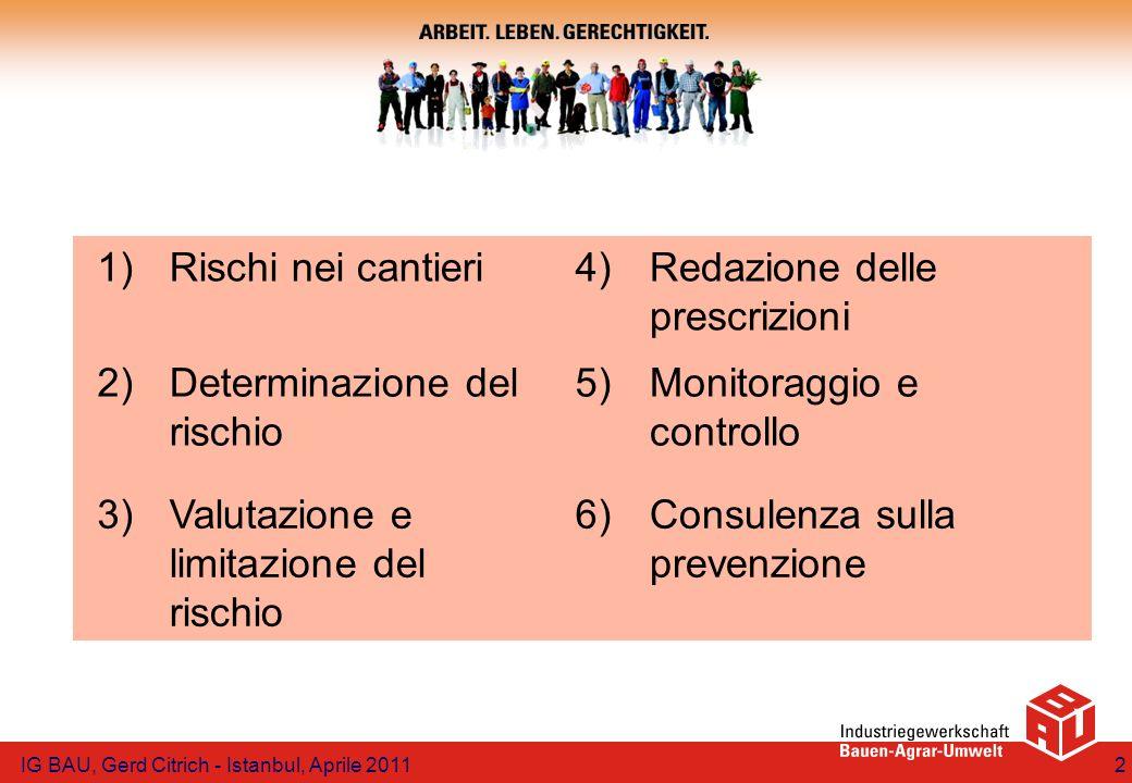 Principio della sequenza Eliminazione del rischio Minimizzazione del rischio Protezione tecnica ed organizzativa Misure personali IG BAU, Gerd Citrich - Istanbul, Aprile 201113